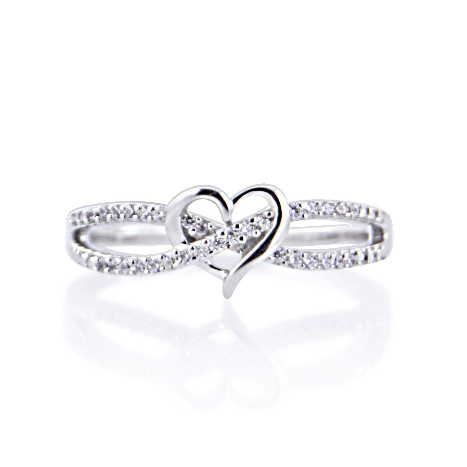 14k solid gold ring natural diamond ring heart ring engagement ring fine DER382