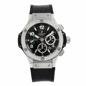 Hublot Big Bang Steel Diamond Bezel Black Dial Mens Watches 301.SX.130.RX.