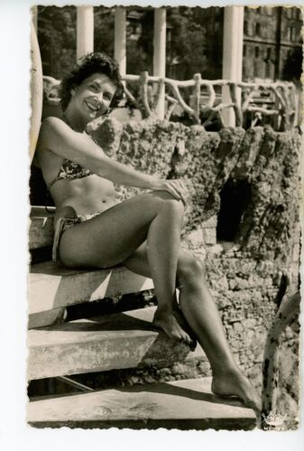 """Rest"" Beautiful Woman in Bikini RPPC Vintage Girlie Photo Pretty French Girl 59"