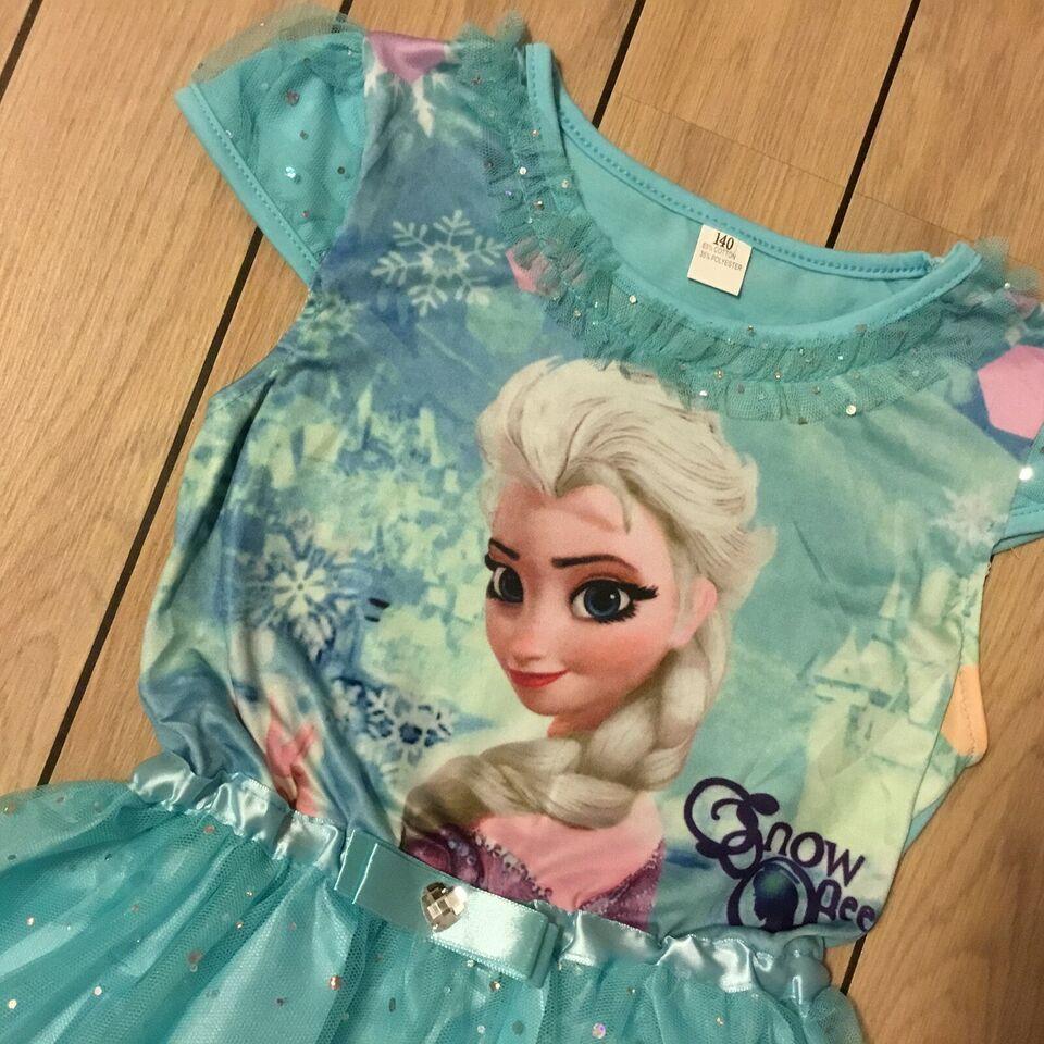 Kjole, Frost kjole str. 110 festkjole med Elsa i turkis,