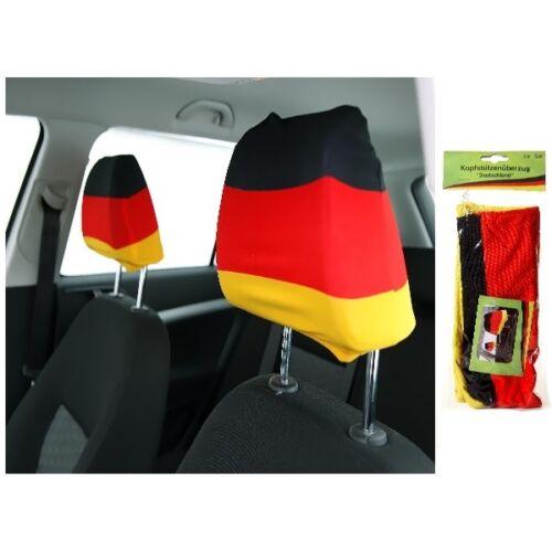 Kopfstützenüberzug Auto 2er Set Deutschland Fan Artikel Dekoration WM+EM #15598