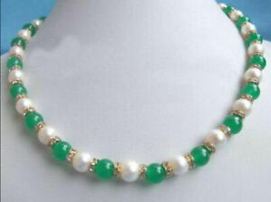 Excellent-Genuine-White-Pearl-Green-Jade-Gemstone-Rhinestone-Necklace-18-034-AAA