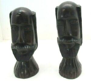 8-034-Set-Pair-African-Wood-Carving-Heads-Bust-Carved-Folk-Art-Tribal-Figures