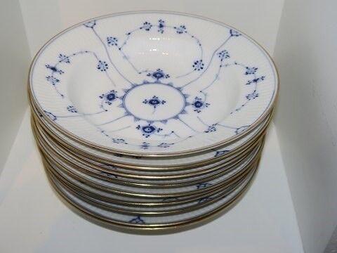 Porcelæn, Musselmalet Riflet med Guldkant  Dyb