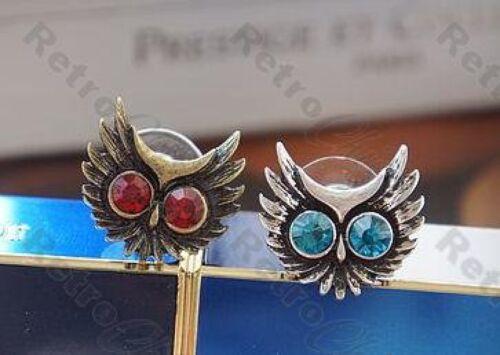 Retro De Diamantes de imitación de miedo con Dibujo De Búho Aretes Rojo//azul Ojos Vintage brass//silver pltd