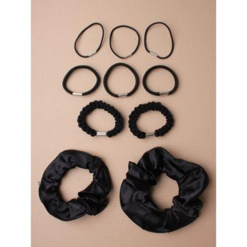 20 items= 2 packs  Black Satin Scrunchies and hair elastics for school AA