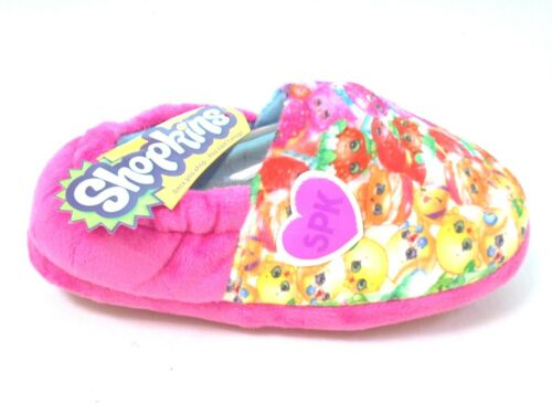 *SALE GIRLS NEW SHOPKINS ELASTICATED SLIPPERS PINK SLIP ON HOUSE SHOES SIZE 6-2