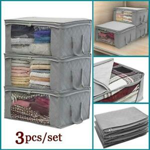 Foldable-Storage-Bag-Clothes-Blanket-Quilt-Closet-Sweater-Organizer-Box-3PC-Set