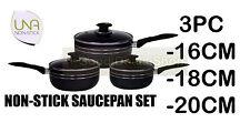 BLACK 3PC SAUCEPAN COOKWARE SET POT WITH GLASS LID PAN FRYING PAN INDUCTION P16