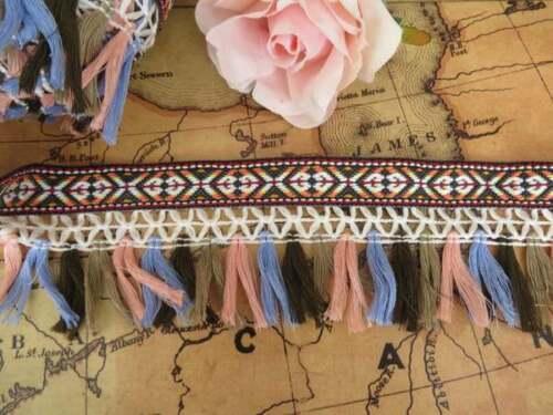 ribete de ganchillo artesanales Dance 1m de colorido con flecos de recorte