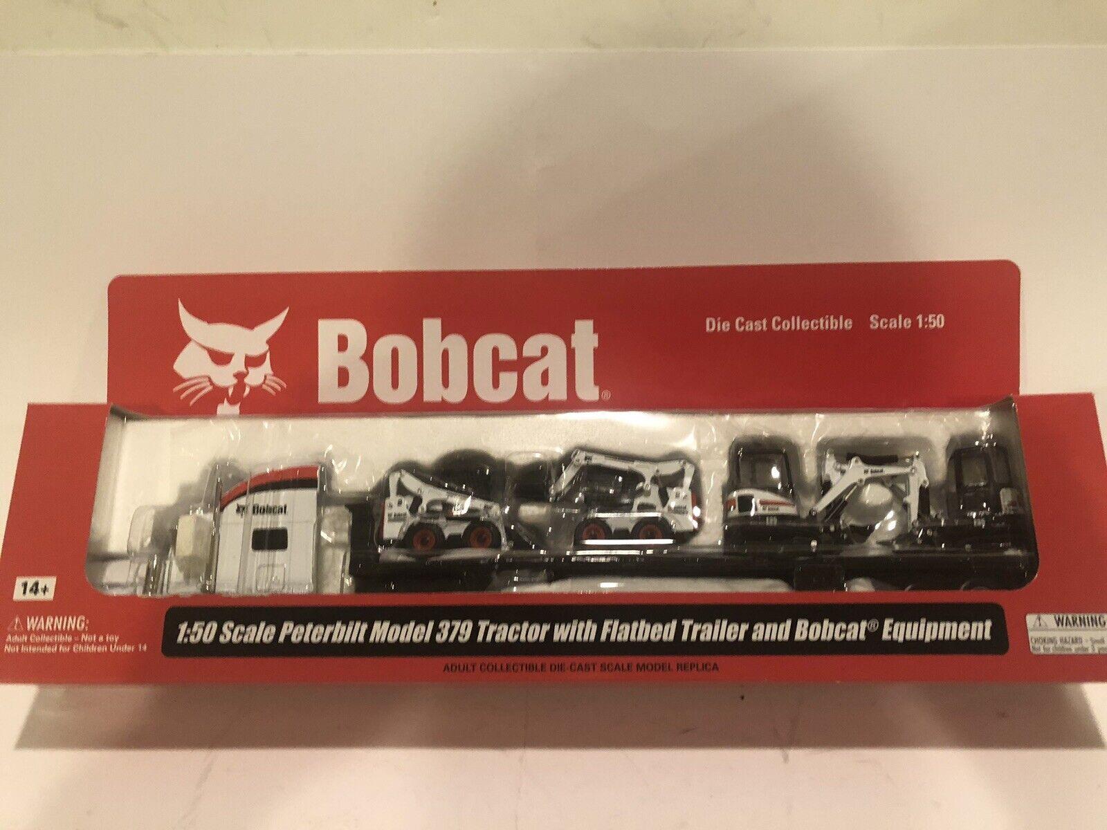 Bobcat PETERBILT SEMI avec 2 Skid Chargeuse & 2 Mini pelles modèle échelle 1 50