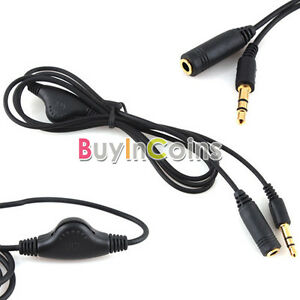 5X3-5mm-M-F-1M-Headphone-Audio-Extension-Cord-Cable-with-Volume-Control-YU-CA