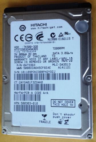 "Hitachi 320GB SATA 2.5/"" 7200RPM HTS723232A7A365 NOTEBOOK HDD WINDOWS 10 /& Driver"