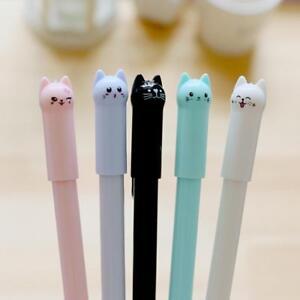 6-Stueck-Cute-Cat-Gel-Pen-Schwarz-Kugelschreiber-Kawaii-Stationery-School-Supply