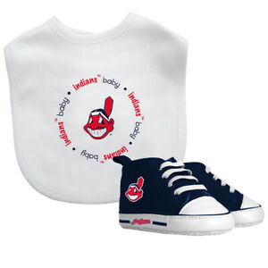 Cleveland-Indios-Bebe-Set-Babero-amp-Zapatos-Oficial-MLB-Bpa-Libre