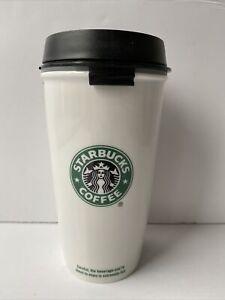 Starbucks 2009 12oz Coffee Mug Dbl Wall White Ceramic Travel Tumbler