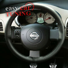 FOR NISSAN MICRA K12 2002-2010 BLACK REAL GENUINE LEATHER STEERING WHEEL COVER