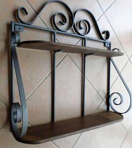 Mensola doppia rustica in ferro battuto e legno parete libreria ...