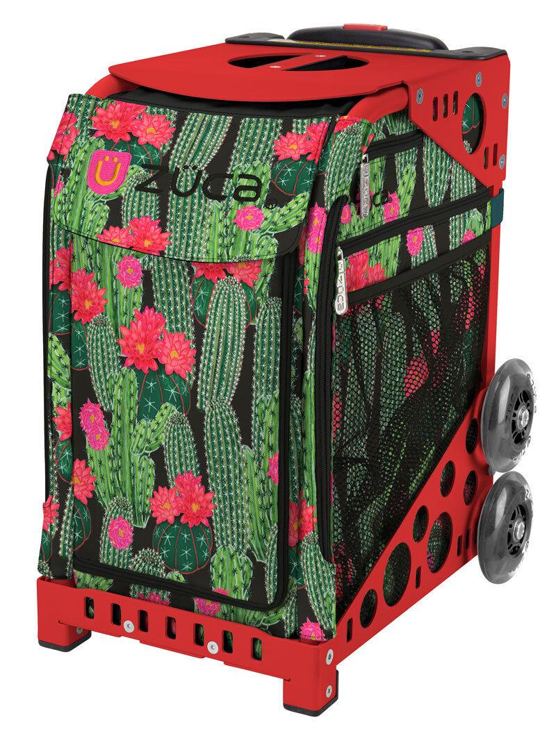 ZUCA Bag DESERT BLOSSOM Insert & Red Frame w Flashing Wheels - FREE CUSHION