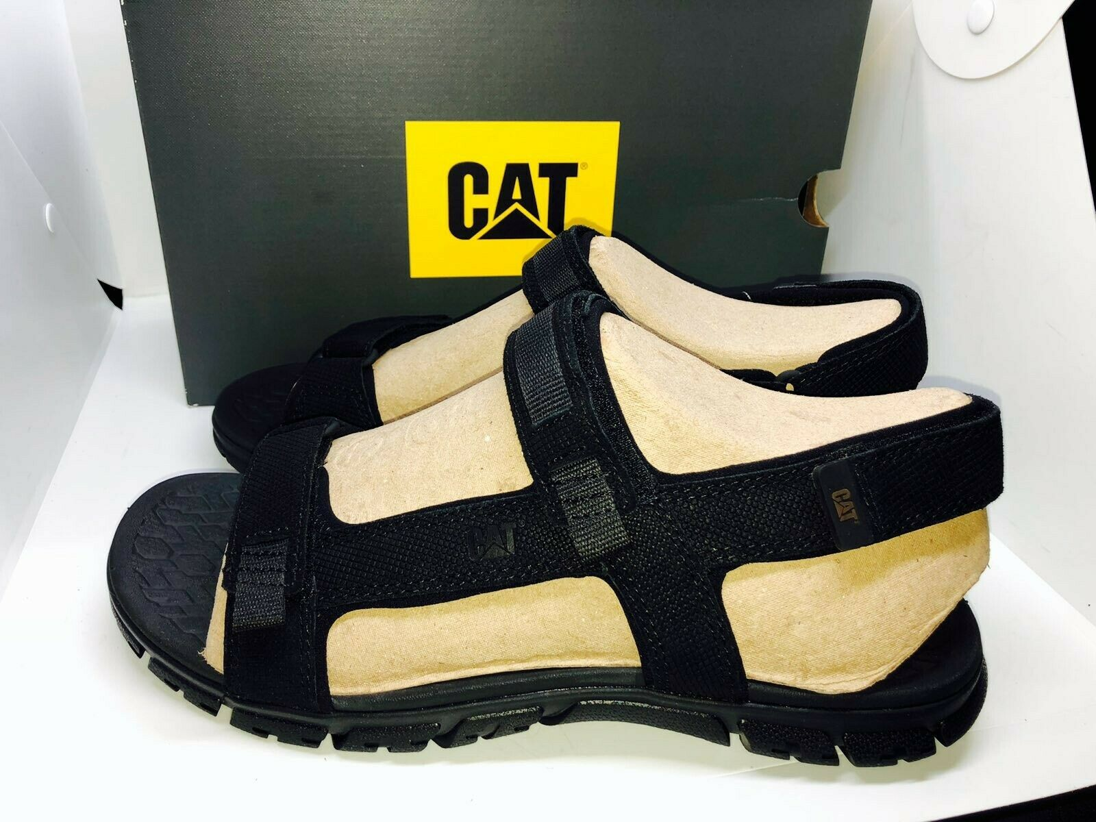 RRP: Brand New Caterpillar Atchison Black Leather Sandals Size 10/44