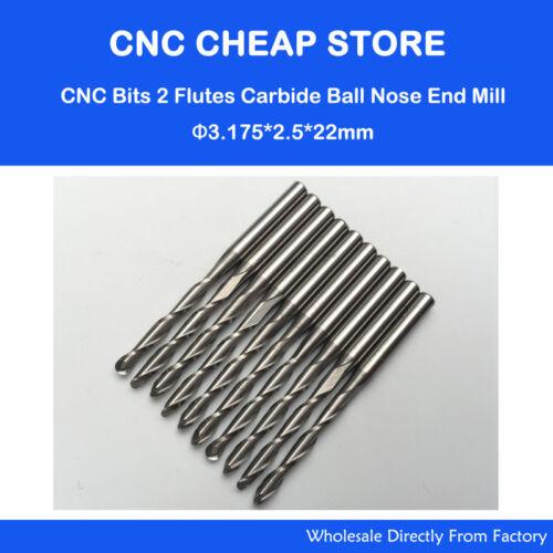 10pcs 3.175*2.5MM *22MM Two Flutes Ball Nose Bits Carbide End Carbide End Mill