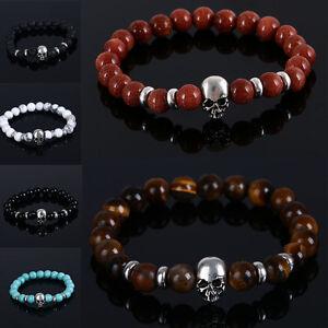 Hommes-Femmes-Mode-Pierre-Naturelle-Perles-de-Bouddha-Crane-Bracelet