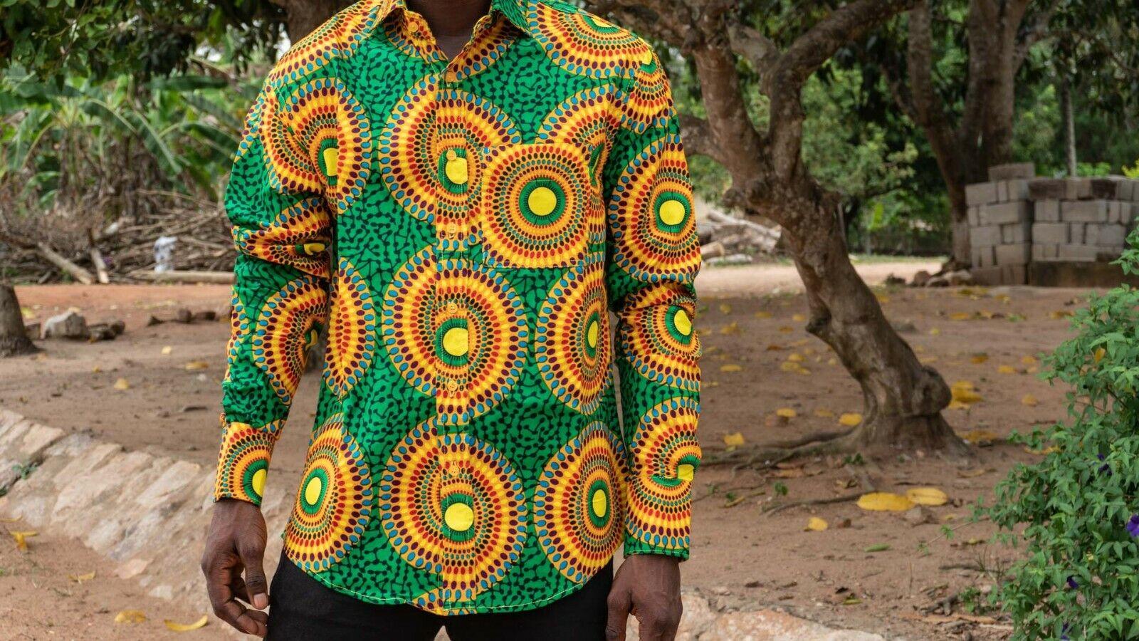 Afrikanisches Hemd - 100% Baumwolle - - - Made in Ghana - Grün Gelb | Quality First  | Moderate Kosten  | Großer Verkauf  d21ca0