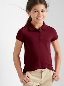 Gap Kids Girls Polo Shirt 6 7 Uniform Pique Cotton Short Sleeve ... 93c1de46f