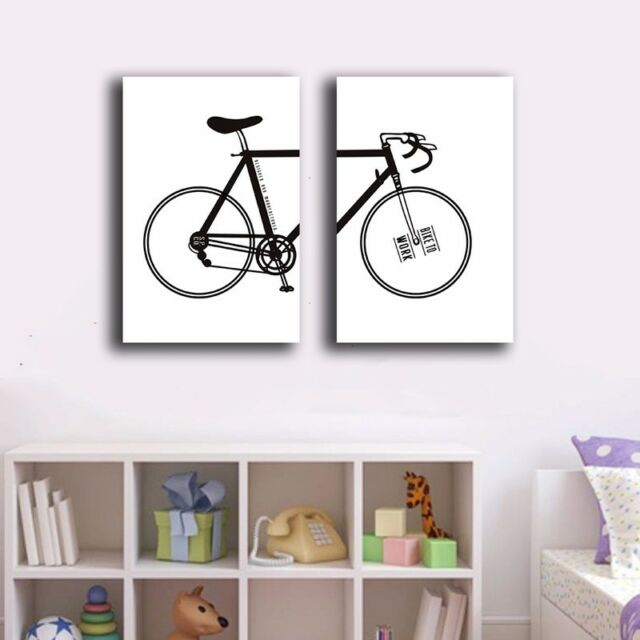 2 Panels 30×50×3cm Bicycle Canvas Prints Framed Wall Art Home Decor Painting