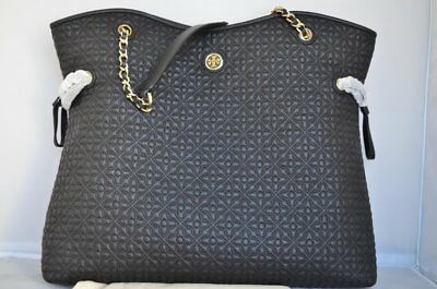 Nwt Authentic Black Tory Burch Bryant Quilted Leather