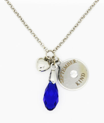 Personalised Birthstone Necklace Pendant Elements Crystal Teardrop Vincenza