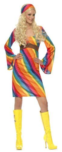 Rainbow Hippie Costume 1960/'s Groovy Flower Power Women/'s Fancy Dress Costume