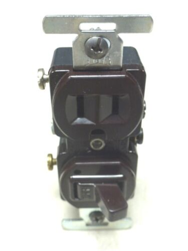 NOS! Eagle // Cooper SINGLE POLE SWITCH w// PILOT LIGHT /& RECEPT BROWN #274 10