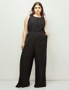 074f6bd39ef NEW LANE BRYANT PLUS SIZE 6TH   LANE BLACK LACE-UP JUMPSUIT SZ 16