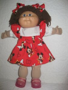 CPK doll clothes//16-18 inch//red//white polka dot dress//bloomers//shoes//hair bows