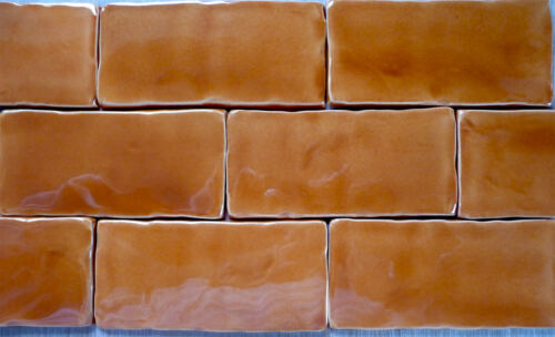 1 square metre Handmade Amber colour Tiles, made in U.K.