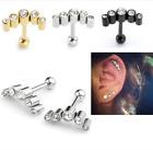 Steel Crystal Barbell Ear Cartilage Helix Tragus Stud Earring Bar Piercing