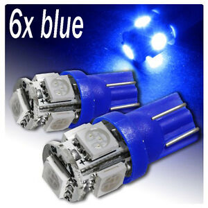 6X-BLUE-W5W-T10-501-LED-SIDE-LIGHT-INTERIOR-NUMBER-PLATE-BULB-5-SMD-NEW-UK