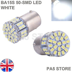2x-BA15S-50-LED-Bulbs-WHITE-Clear-Bright-Signal-Reverse-Lights-P21W-1156-UK