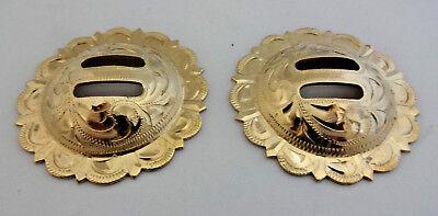 """Pair Engraved Brass El Paso Pico Conchos Screw Back 2/"""" Hansen Western Gear Horse"""