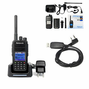 RETEVIS-RT3-DMR-Walkie-Talkie-UHF-5W-1000CH-2-way-radio-amp-cavo-di-programmazioneAS