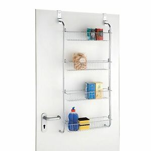 Image is loading 4-Tier-Over-Door-Hanging-Food-Cupboard-Storage-  sc 1 st  eBay & 4 Tier Over Door Hanging Food Cupboard Storage Spice Rack Kitchen ...