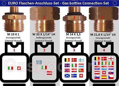Camping-küchenbedarf Willensstark Euro-flaschen-set 4-teilig Gasflaschen-anschluss-set-adapter-Übergangsstutzen GroßEr Ausverkauf