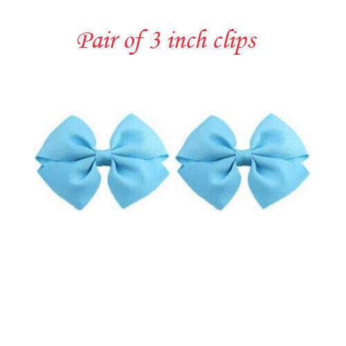 "3 Inch 3/"" Baby Girls kids Ribbon band Hair Bows Elastic cute clips School Pair"