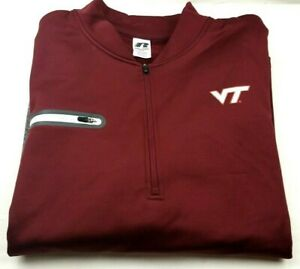 Russell-Virginia-Tech-VT-Hokies-Size-XXL-Half-Zip-Pullover-Zipper-Pocket-L-S-EUC