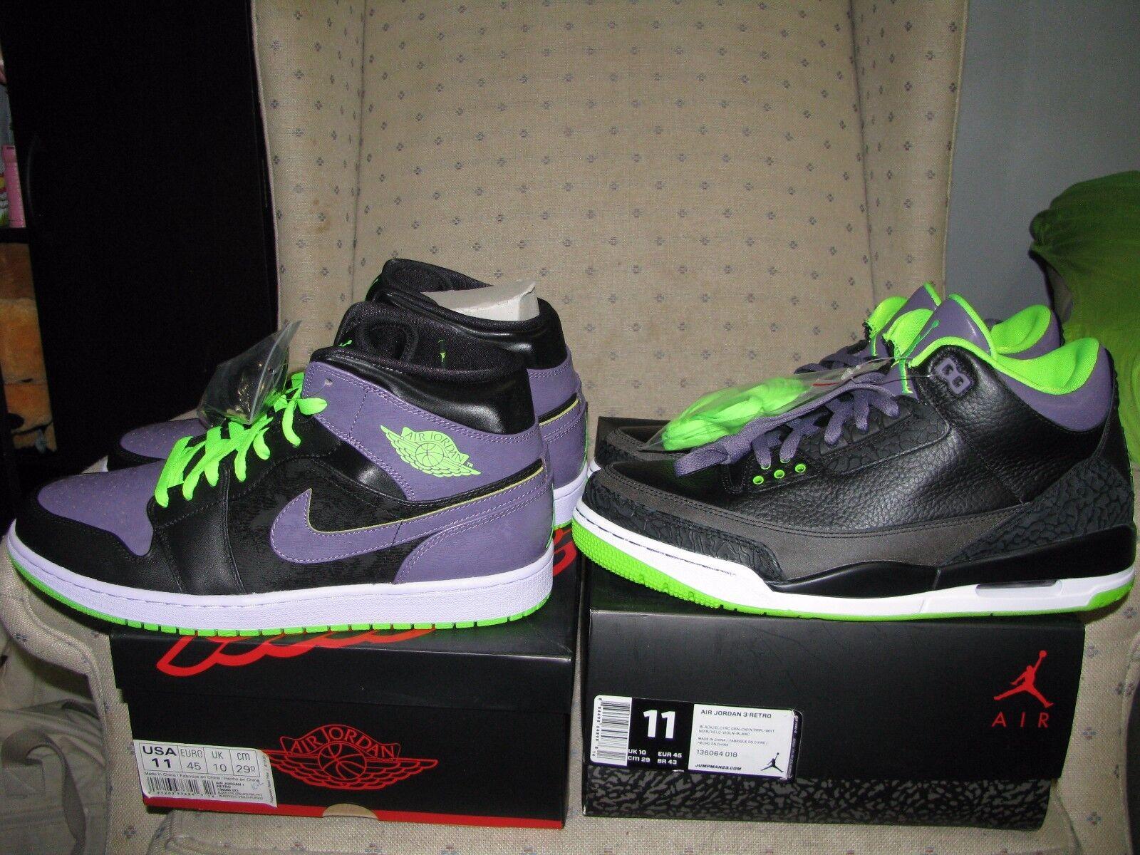 2 PAIRS NIKE AIR JORDAN RETRO 3 AND RETRO 1 JOKER Black purple green bred Sz 11