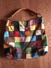 Vtg Lucky Brand Leather Suede Patchwork Slouchy Hobo Festival Shoulder Bag