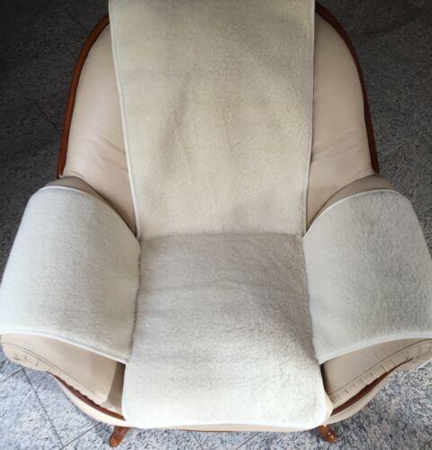 Überwurf Sesselschoner in Naturweiss gelockt 100/% Wolle Sesselauflage
