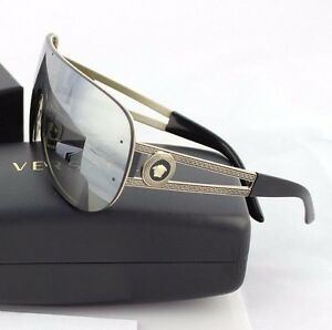 b97c4bb933 RARE Genuine VERSACE Rock Icon Gold Grey Mirror Shield Sunglasses VE ...