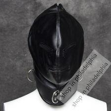 Soft Leather Full face gimp bondage hood mask zipper eyes mouth lace up back
